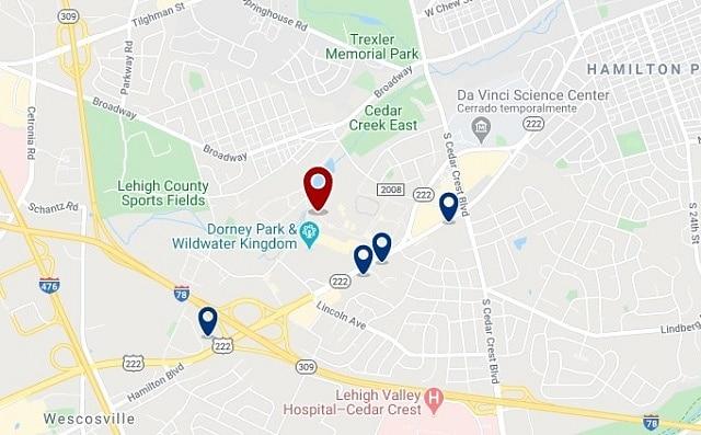 Alojamiento cerca de Dorney Park Wildwater Kingdom - Clica sobre el mapa para ver todo el alojamiento en esta zona