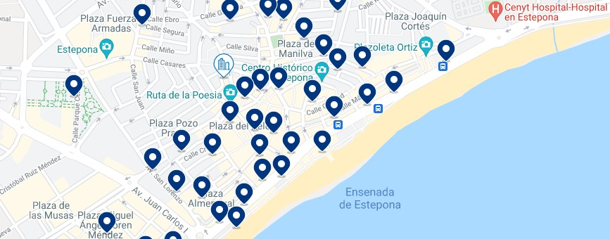 Accommodation in Estepona - Click on the map to see all the available accommodation in this area