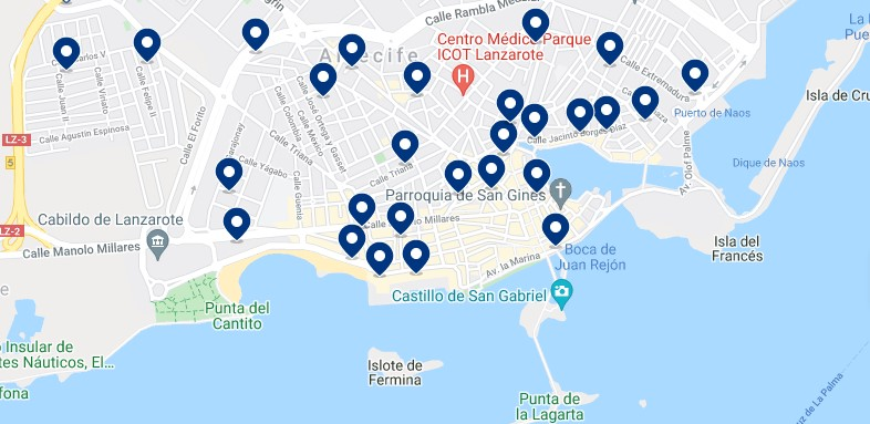Accommodation in Arrecife - Click on the map to see all the available accommodation in this area