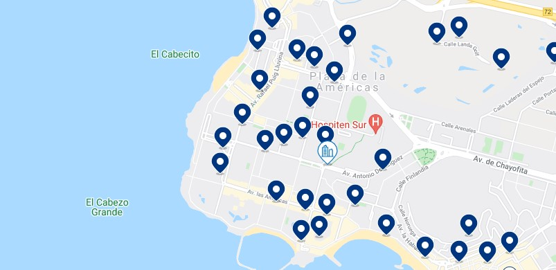 Accommodation in Playa de las Américas – Click on the map to see all the available accommodation in this area