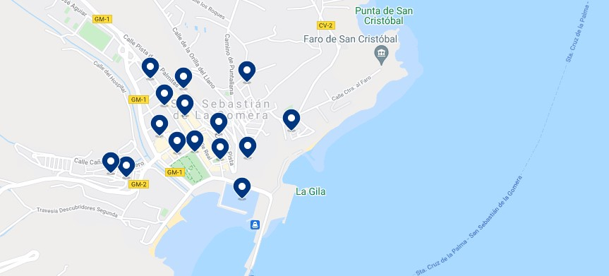 Accommodation in San Sebastián de La Gomera - Click on the map to see all the available accommodation in this area