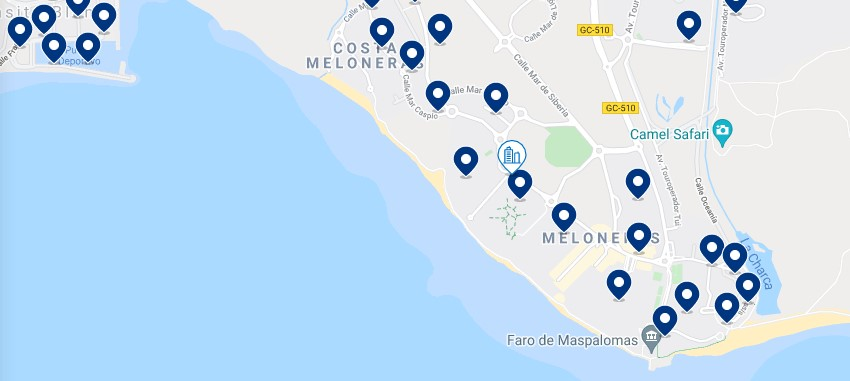 Accommodation in Meloneras – Click on the map to see all the available accommodation in this area