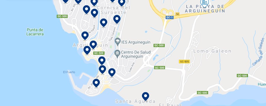 Accommodation in Playa de Arguineguín – Click on the map to see all the available accommodation in this area