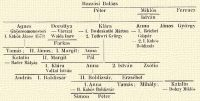 Bozzási Balázs; Péter; Miklós; Ferencz; István; Ágnes – Ghÿereomonostori I. Kabós János 1573; Dorottya – Várczai Waida Imre; Farkas; Klára – 1. Bwdeskuthi Márton – 2. Tothwri György; Anna 1. Reichei Gáspár. – 2. 1. Kabós Boldizsár; János; György; Tamás; II. János; I. Margit; Anna; Katalin – Bader Mátyás; II. Margit; Pál; I. Klára – Valkai István; Anna; 2. István; Zsófia; András; I. Boldizsár; II. Boldizsár,; Erzsébet; 1. Anna; Tamás; Mihály; Katalin – II. Kabós Boldizsár – Dobay Miklós; Simon; Péter