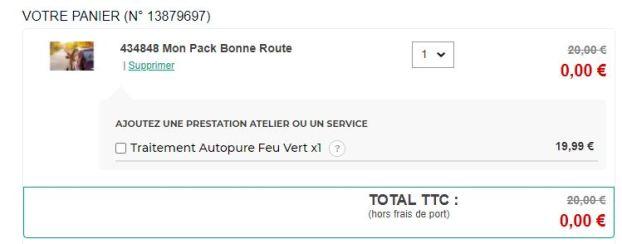 Pack Bonne Route Feu Vert GRATUIT