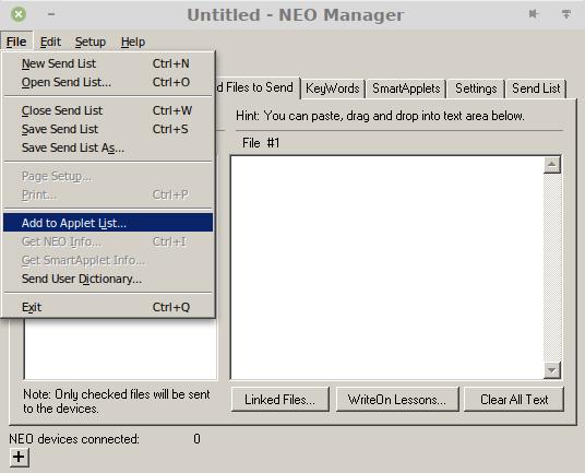 """Screenshot des Hauptfensters des Neo-Managers. Das """"File""""-Menü ist aufgeklappt und der Eintrag """"Add to Applet List"""" ist hervorgehoben."""