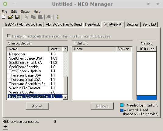 """Screenshot des Neo Managers, Reiter """"SmartApplets"""". Man sieht eine Liste der Applets und am unteren Ende ist der Eintrag """"Neo Font - Custom Font 16"""" hervorgehoben."""
