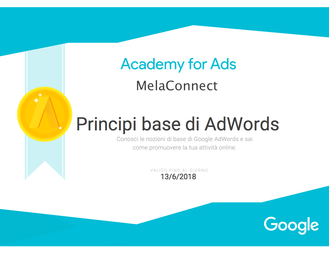 Certificazioni Web MelaConnect Marketing Agency Principi base di AdWords