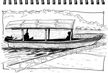 Guatemala 2015 - Barque à moteur au lac Petén-Itzá