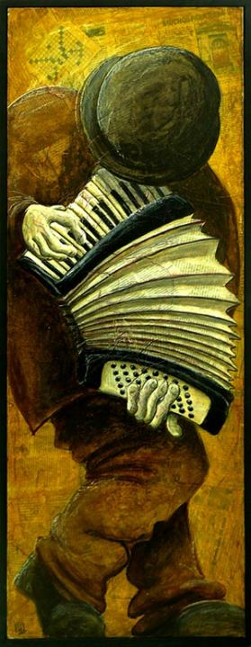 Accordéoniste - Pastel gras sur collage