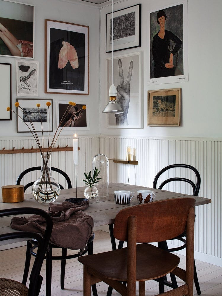 An eclectic mix and same colour palette organised around a corner. Credit: 91 Magazine