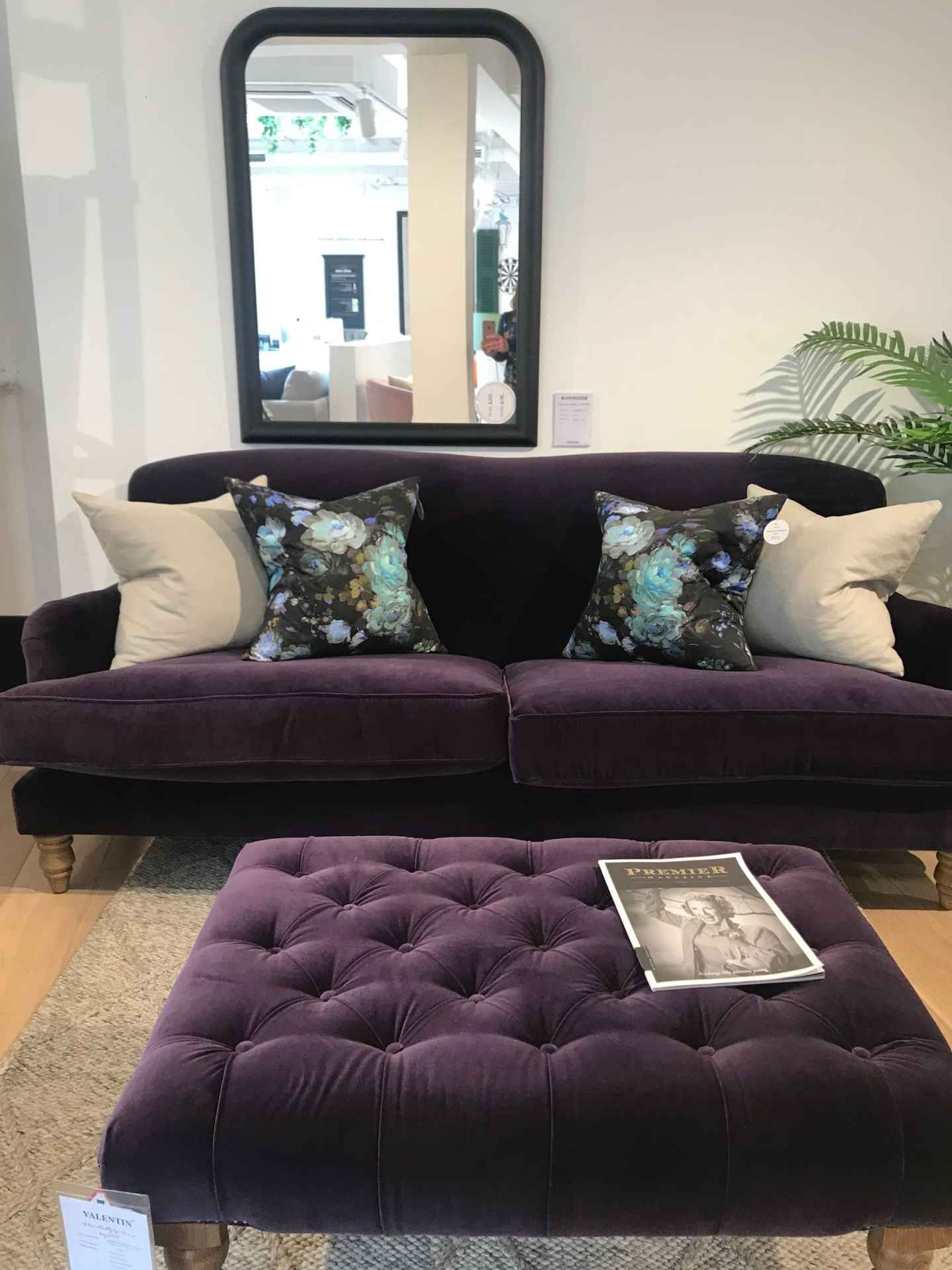 This stunning purple sofa was nestled in next to the bar -  Snowdrop sofa in Plum velvet