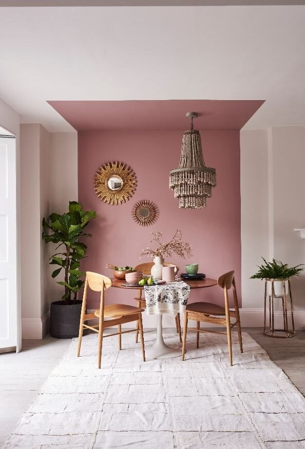 If you don't fancy painting the whole ceiling, go for colour blocking like this idea from  Dulux . Paint - Pressed Petal