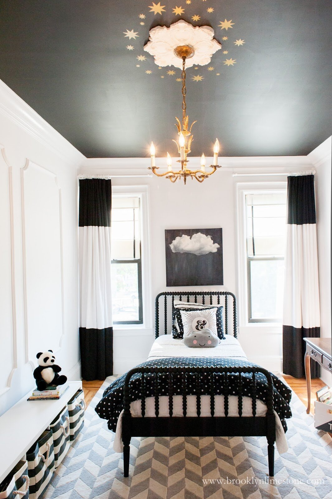 Adding a playful touch to a black ceiling in a children's room. Credit:  www.brooklynlimestone.com