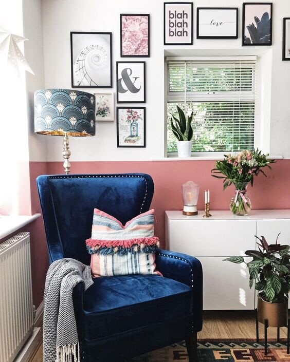This blue can work wonderfully with pinks and greens Chair by  Julian Joseph . Instagram:  @melaniejadedesign