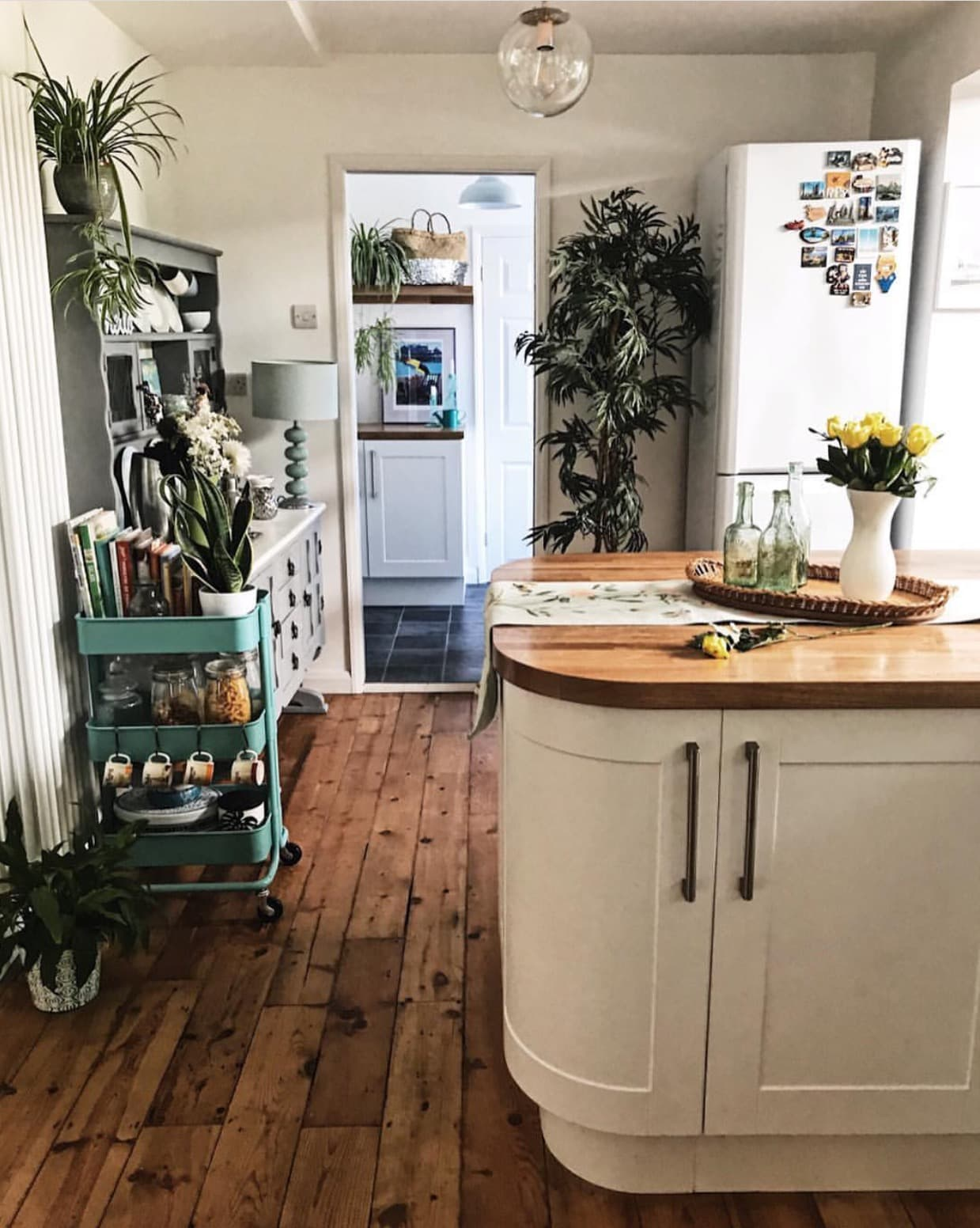 Our old Indesit fridge in our white kitchen