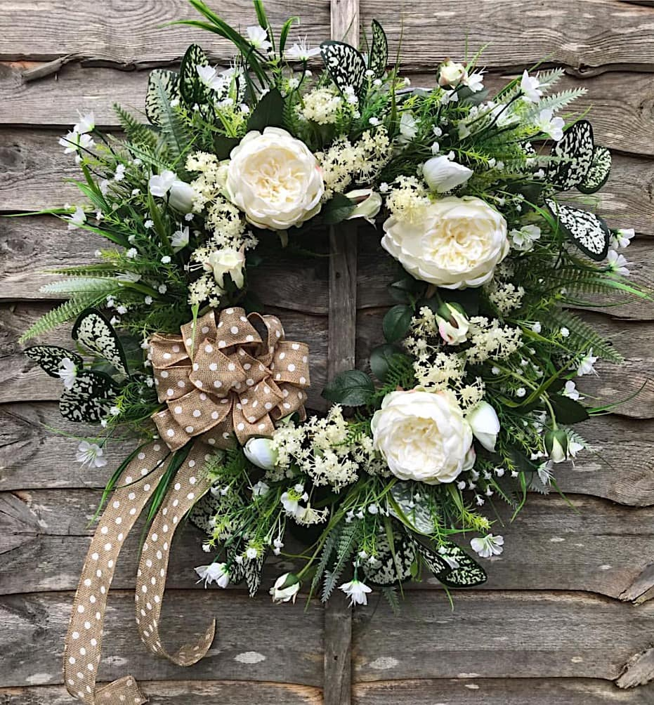 White Peony Bow  Wreath - @thebigdoorwreathcompany