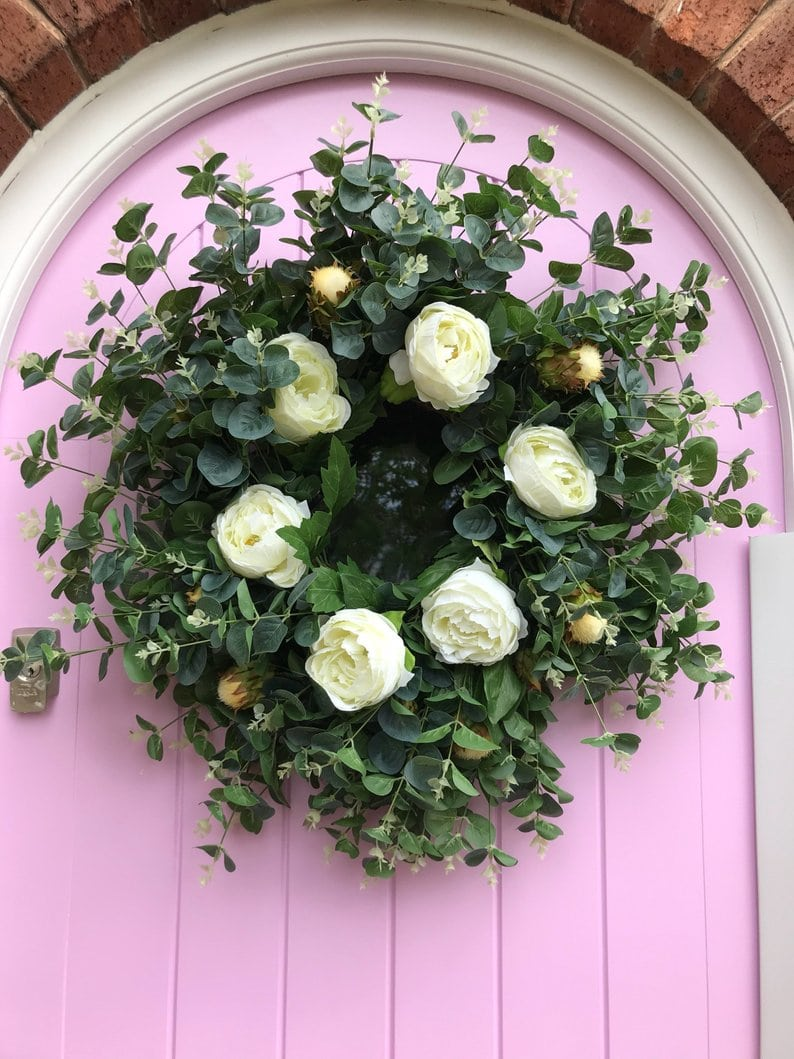 Eucalyptus and Ivory Peony - The Big Door Wreath Company