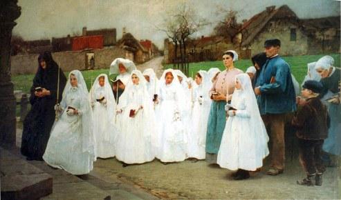EntrŽe de scommuniantes dans l'Žglise du village,avec une Fille de la CharitŽ