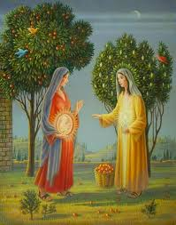 The Visitation of Elizabeth by Mary Oil and Tempera Painting, The Mische Technique 2005.