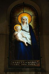 Virgin Mary and Jesus - Sancta Maria - stained glass window
