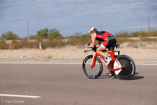 Sue Hutter photographer captures melanie Mcquaid racing Ironman Arizona on Bontrager wheels