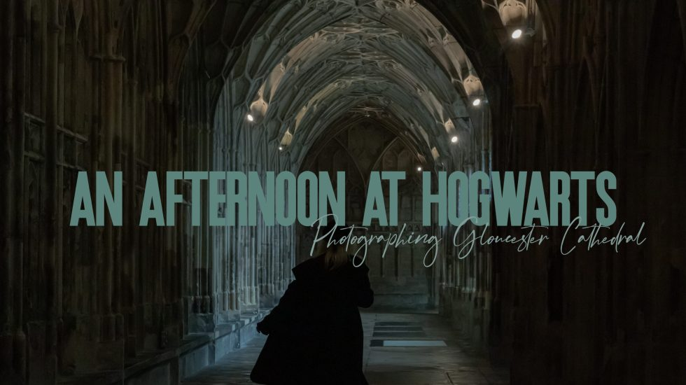 "featured image for post. image depicts a girl in a long black coat walking through a cathedral with the words ""an afternoon at hogwarts"""