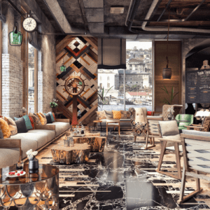 western interior rustic living room