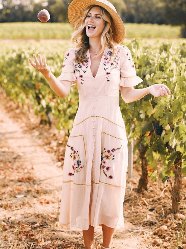 Hope & Ivy Madeline Maxi Dress in vineyard boho style