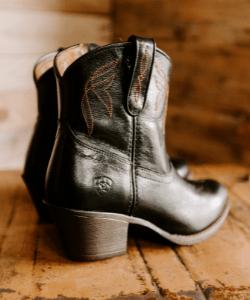Black short cowboy boots western x boho style