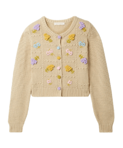 Cream knit cardigan with yellow and pruple embroidered floral details