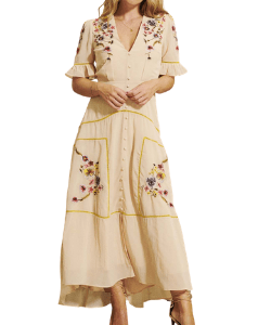 Mdeline Floral Embroidered Flowy Button Front Maxi Dress Western Style