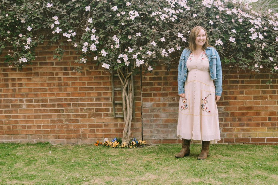 Liverpool denim jacket, Madeline Hope & Ivy Button Front Maxi Dress and Ariat Western Boots
