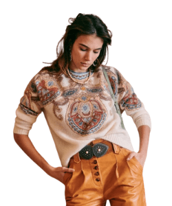 Sezane Augustus Bohemian Style & Western Fashion Jumper