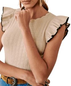Sezane knitwear ruffle shoulder top