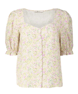 Floral Print Puff Sleeve sweetheart Neckline Blouse Boho Fashion Western Clothing