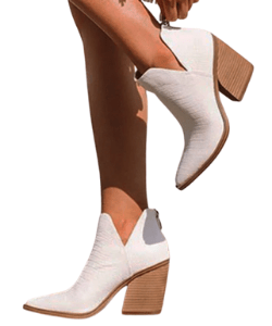 White cowboy boots western booties split shaft