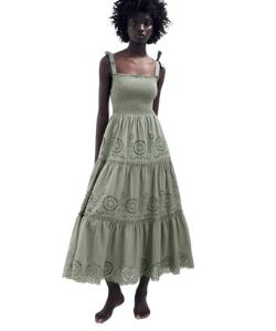 Zara sage green tiered smocked midi dress 250x300 blog minis template
