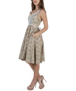 Autumn Calico Gunne Sax Pockets Dress / 70s Country Folk Style Dress / Beige Floral Corset Prairie Dress / Vintage Lace Trim Peasant Mini
