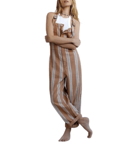 Free People overall striped playsuit brown boho outfit