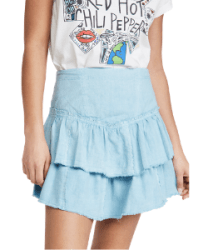 Tiered ruffle mini skirt in pastel blue by Free People via Shopbop for a western style