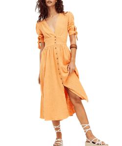 Free people Orange Button Front Midi Dress 250x300 blog minis template