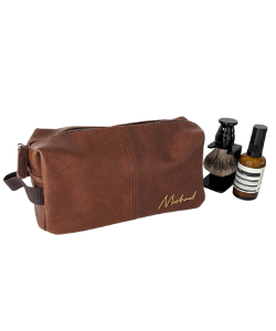 Faux leather men's personalised wash bag from Etsy store