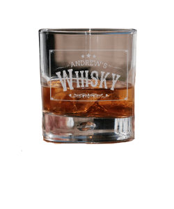 Old Western Themed Personalised Engraved Bubble Whiskey Glass
