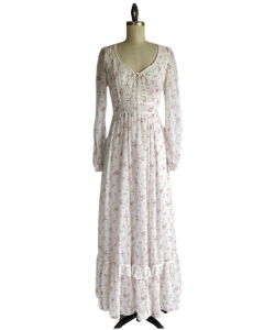 Vintage 70s Western Style Dress Gunne Sax Maxi Dress / 1970s Sheer White Floral Print Boho Prairie Dress / Vintage Cottage Core Bride Lace Up Corset Dress