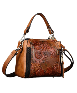 embossed leather bag with floral design