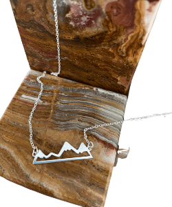Sterling Silver Dainty Necklace With Mountain Link Pendant image 0 Sterling Silver Dainty Necklace With Mountain Link Pendant image 1 CambridgeCountry Local seller   1 sale Sterling Silver Dainty Necklace With Mountain Link Pendant