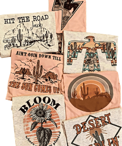 Retro, boho, western, graphic tees, desert