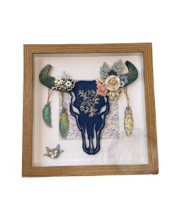 Boho Western Texas Steer Skull Art