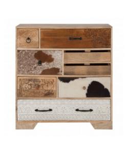 Mango wood & cowhide western style drawers - boho furniture